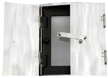 Kakelugnsram nickelmed glasluckaKakelugnsdiameter 66,69 cm
