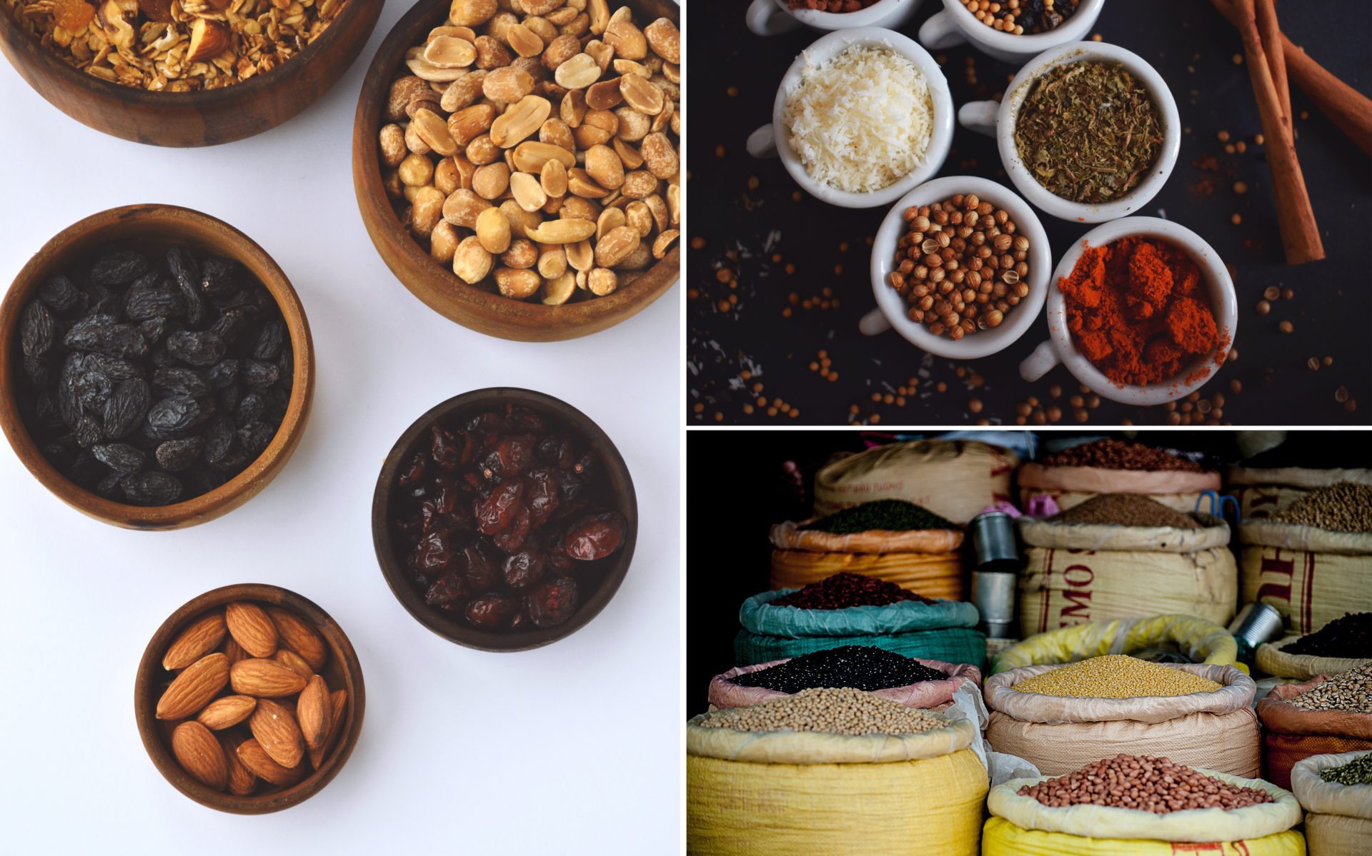 nötter, bönor och kryddor är bra att spara på
